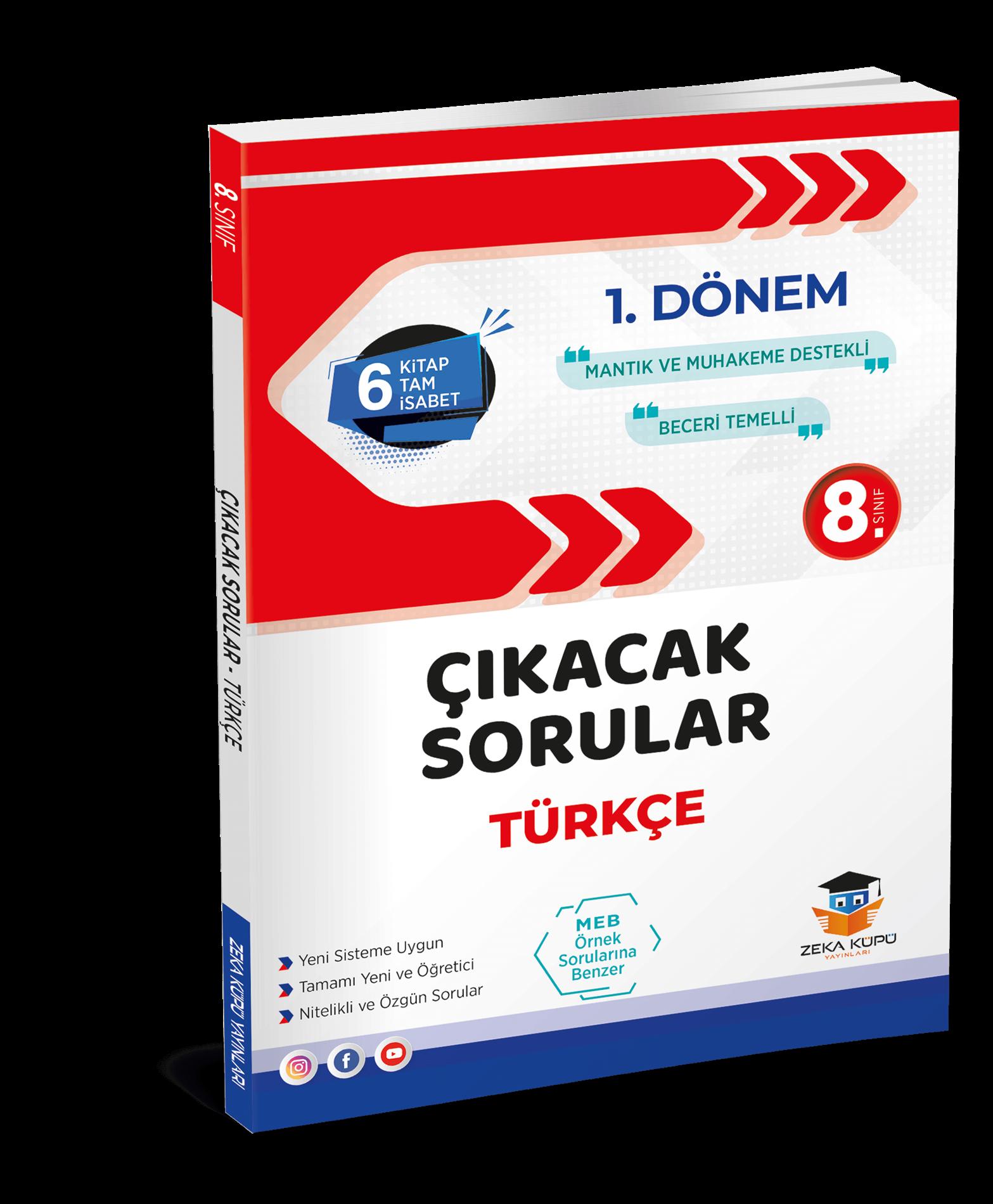 8. Sınıf Türkçe 1. Dönem Çıkacak Sorular Zeka Küpü Yayınları